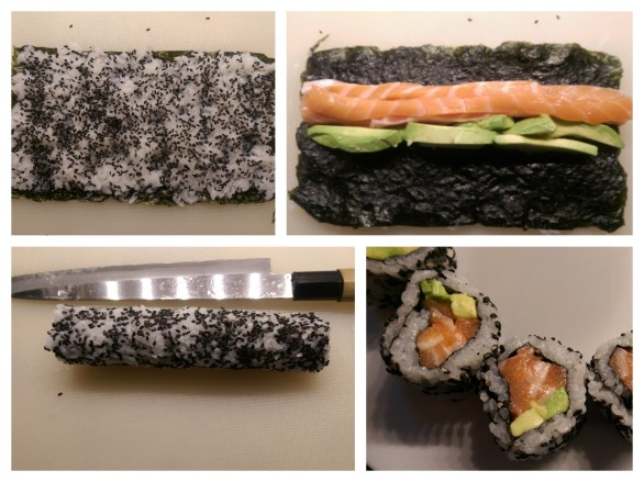 The stages of making Salmon Avocado Maki