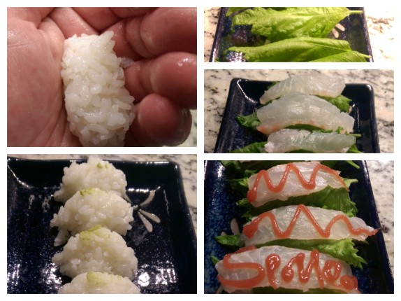 The steps to assemble Nigiri with Bream, Shiso Leaf and Plum Sauce,