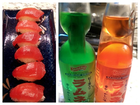 Tuna Nigiri & Japanese Soda with Manga-tastic colors