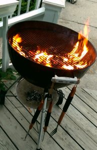 The charcoal alight!