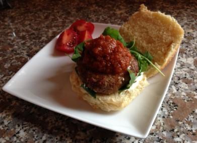 Lamb Kofta Burger with home made BBQ sauce
