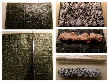 Clockwise from left: (1) Nori sheet (2) Cutting the Nori (3) Rice on Nori (4) Tuna Mix on back of Nori (5) Nori ready to roll