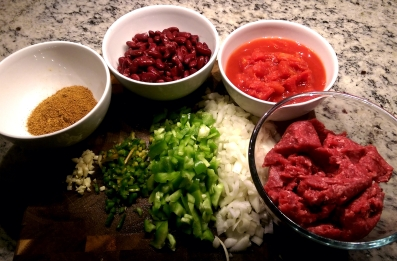 Chile Con Carne Ingredients ready for the Pot