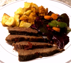 Brisket with Roasted New and Sweet Potato and Red Spinach sides