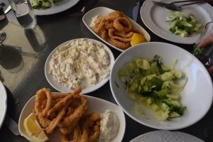 Crispy calamari, cool cacik & fresh salad