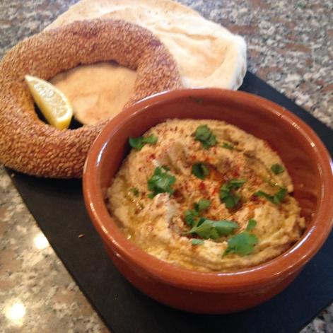 Houmous/hummus with Turkish Simit (sesame ring bread) & Greek pita