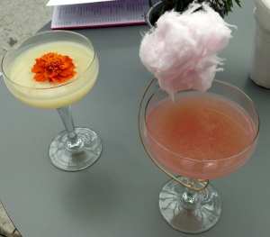 L-R: Lemon Pie Martini & Pink is the Question Cocktails @ Sky Pod Bar