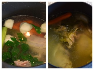 In the pot before and after cooking