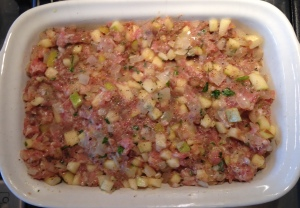 Stuffing ready for baking