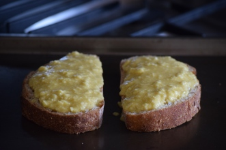 Welsh Rarebit ready for cooking