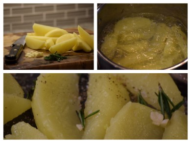 The 3 stages of cooking - note the fluffy exterior of the potatoes about to be roasted
