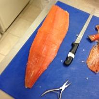 Gunnar ready to prepare my smoked salmon