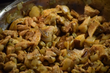 Chicken, Mushrooms etc in the pan