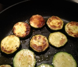 Get your sear on! Courgettes Cooking