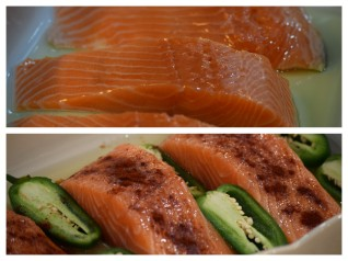 Salmon + Jalapeno peppers + oil + seasoning