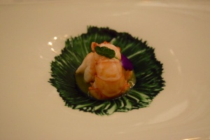 5: Sugar coated crayfish with sea garlic