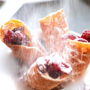 Cranberry Canolli's or filled brandy snaps