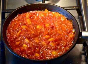 Tomato & pepper sauce simmering