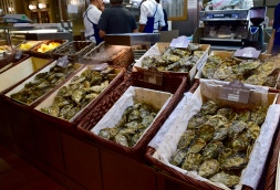 Oysters - typical Lyonnaise lunch with a glass of wine