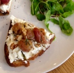 Tartine Salees: goats cheese with roasted grapes, rosemary, walnuts & honey on toast