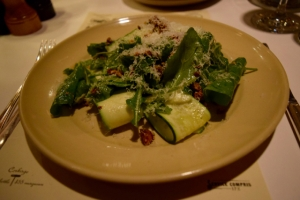Cannard farm rocket with shaved zucchini, mint, spicy pistachios & pecorino