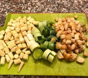 Baby corn, leeks & baby new potatoes chopped & ready for the pot
