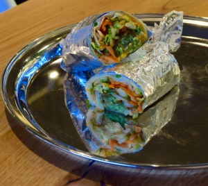 Home made falafel, hummus & salad wrap